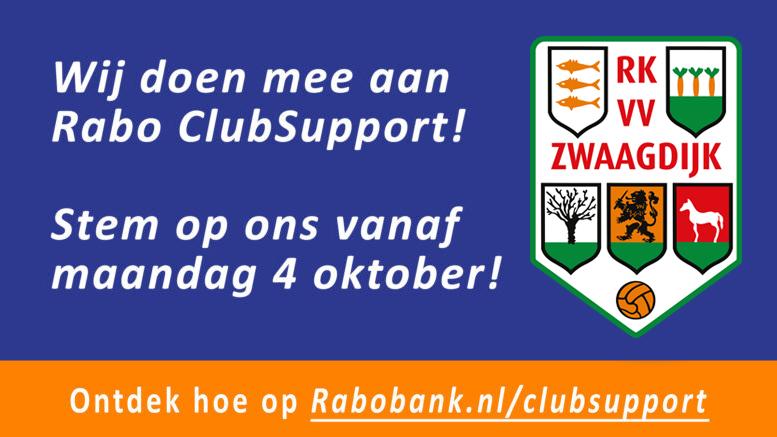 Van 4 t/m 24 oktober kunt u op RKVV Zwaagdijk stemmen bij Rabo ClubSupport!
